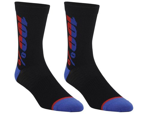 100% Rhythm Merino Wool Socks (Black/Blue) (S/M)