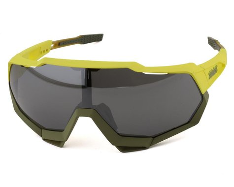 100% Speedtrap Sunglasses (Soft Tact Banana) (Black Mirror Lens)