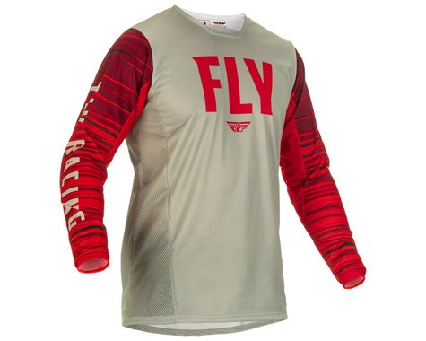 Fly Racing Kinetic Wave Jersey (Light Grey/Red) (S)