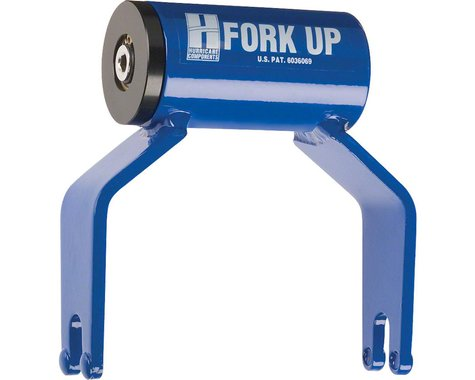 Hurricane Components Fork Up Thru Axle Bike Rack Adapter (Blue) (Cannondale Lefty)